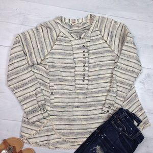 Free People 🌸 long sleep striped pullover